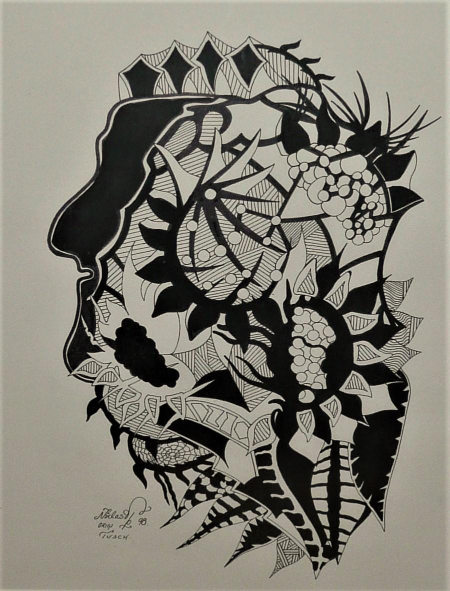 Tusch målning i svart / vitt